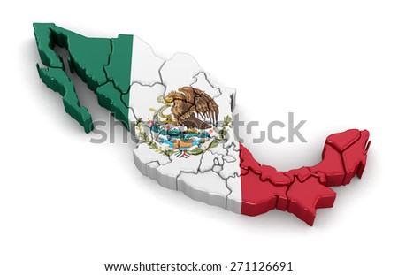 Map of Mexico. Image with clipping path. - stock photo
