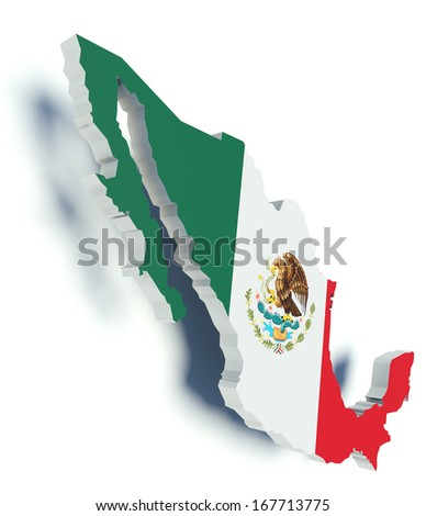 Map of Mexico with flag colors. 3d render illustration. - stock photo