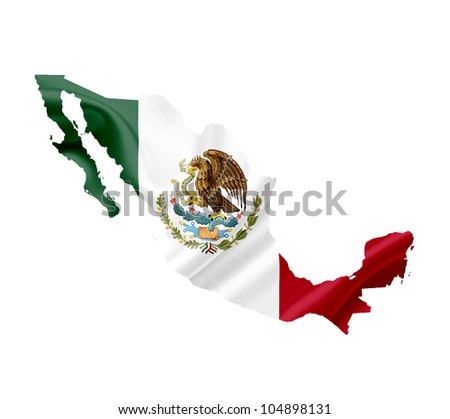 Map of Mexico with waving flag isolated on white - stock photo