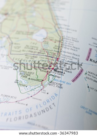 Map of Miami in the south of USA - stock photo