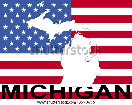 map of Michigan on American flag illustration JPG