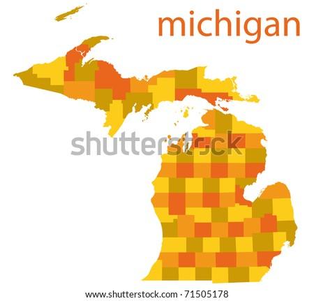 map of michigan state - stock photo