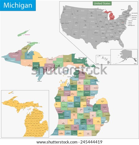 Map of Michigan state designed in illustration with the counties and the county seats - stock photo