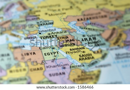 Map of Middle East - stock photo