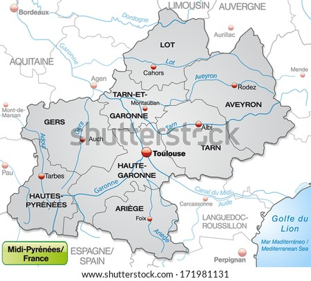 Map of Midi-Pyrenees with borders in gray - stock photo