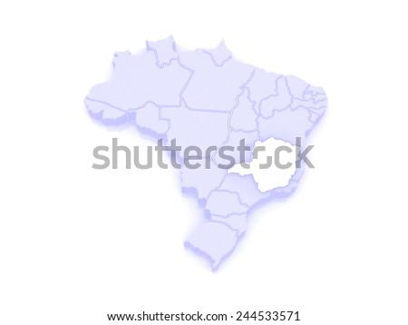 Map of Minas Gerais. Brazil. 3d - stock photo