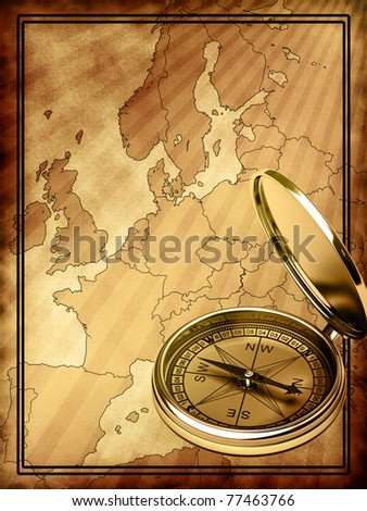 Map of modern Europe at the background with compass