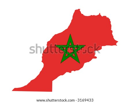 map of Morocco and moroccan flag illustration