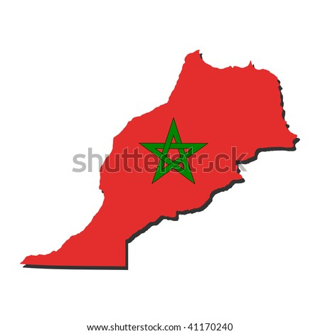 map of Morocco and their flag illustration JPEG