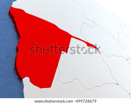 Map of Namibia on globe with metallic land and realistic water. 3D illustration