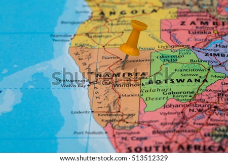 Map of Namibia with a orange pushpin stuck