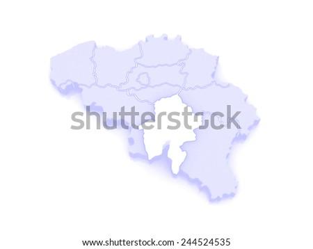Map of Namur. Belgium. 3d - stock photo