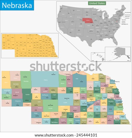 Map of Nebraska state designed in illustration with the counties and the county seats - stock photo
