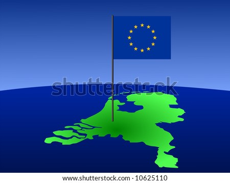 map of netherlands and European Union flag on pole illustration JPG