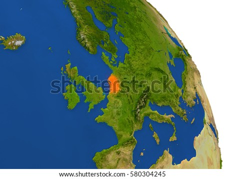 Map of Netherlands with surrounding region on planet Earth. 3D illustration with highly detailed planet surface. Elements of this image furnished by NASA.