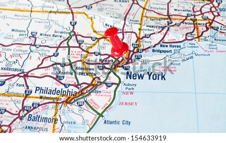 Map of New York City, NY with Red Push Pin - stock photo