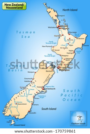 Map of new zealand as an overview map in pastel orange