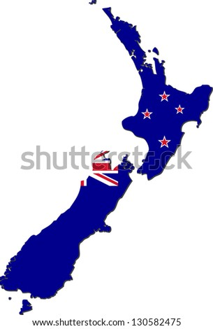 Map of New Zealand with national flag isolated on white background (raster illustration) - stock photo