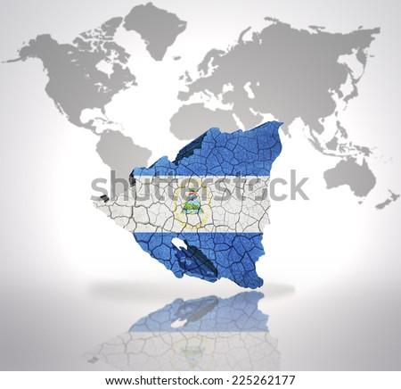 Map Nicaragua Nicaraguan Flag On World Stock Illustration - Where is nicaragua on the world map