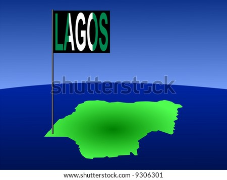 map of Nigeria with position of Lagos marked by flag pole illustration JPG