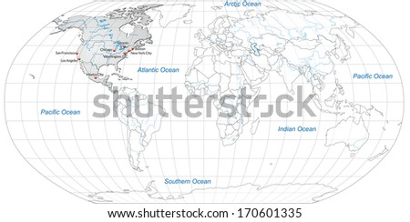 Map of North America with main cities in gray - stock photo