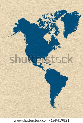 map of North and South America- blue on yellow paper background - stock photo