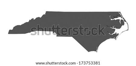 Map of North Carolina - USA - stock photo