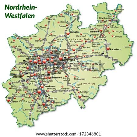 Map North Rhinewestphalia Mobile Phone Stock Illustration 171407900