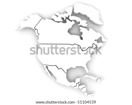 Map of northern america. 3d - stock photo