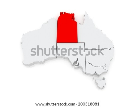 Map of Northern Territory. Australia. 3d - stock photo