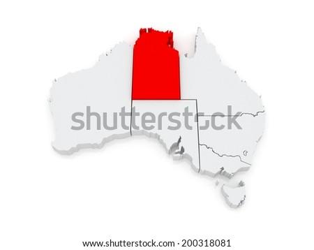 Map of Northern Territory. Australia. 3d - stock photo