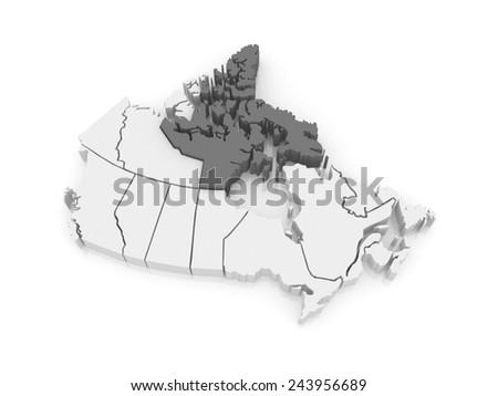 Map of Nunavut. Canada. 3d - stock photo