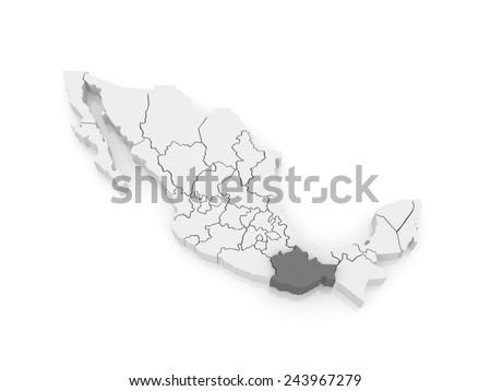 Map of Oaxaca. Mexico. 3d - stock photo