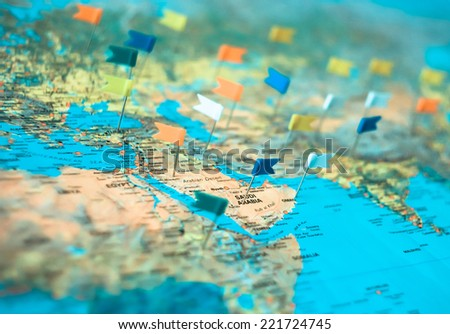 Map of oil fields in Asia - stock photo