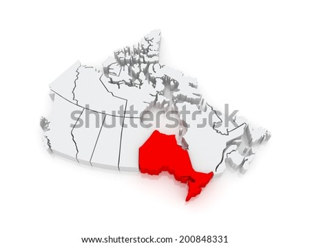 Map of Ontario. Canada. 3d - stock photo