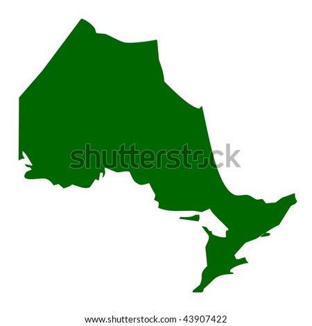 Map of Ontario province or territory in Canada, isolated on white background. - stock photo