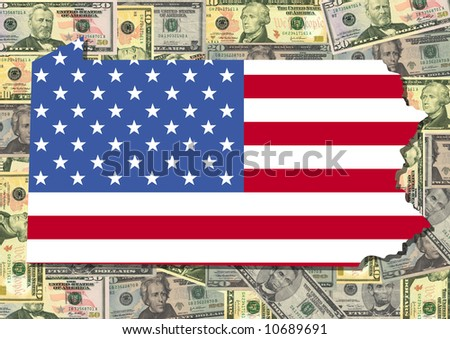 Map of Pennsylvania with American flag and dollars illustration