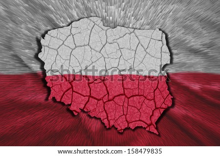 Map of Poland in National flag colors - stock photo