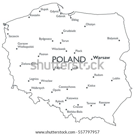 Map Poland Monochrome Contour Map City Stock Illustration 557797957