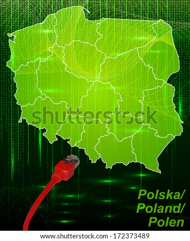 Map of Poland with borders in network design