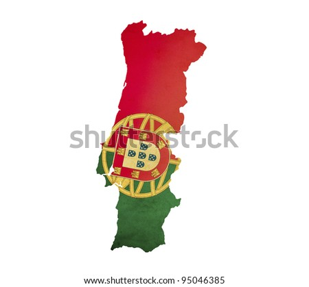 Map of Portugal isolated - stock photo