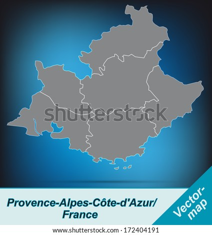 Map of Provence-Alpes-Cote d Azur with borders in bright gray