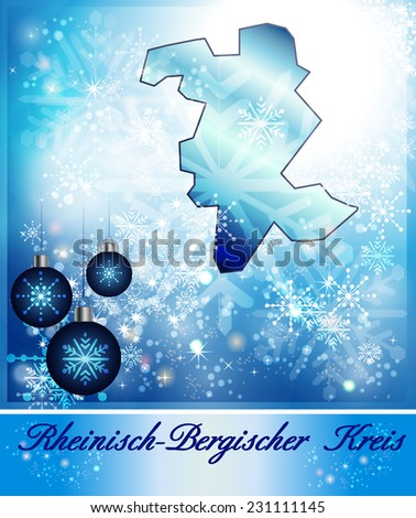 Map of Rheinisch-Bergischer-Kreis in Christmas Design in blue