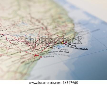 Map of Rio de Janeiro - stock photo