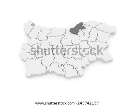 Map of Ruse region. Bulgaria. 3d