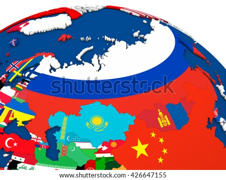 Map of Russia on globe with embedded flags of countries. 3D illustration.