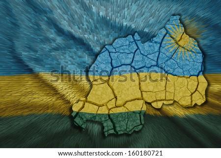 Map of Rwanda in National flag colors - stock photo