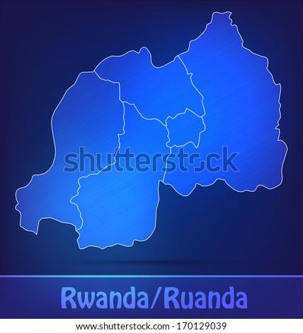 Map of rwanda with borders as scrible - stock photo