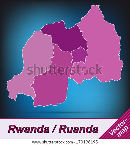 Map of rwanda with borders in violet - stock photo