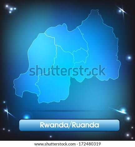 Map of rwanda with borders with bright colors - stock photo